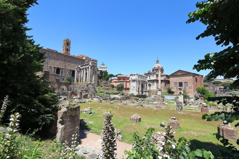 The ancient Forum, Rome - Italy. Panoramic view of the Roman Forum looking towards the Remains of the Temple of Saturn, the Arch of Septimus Severus, and the royalty free stock photos