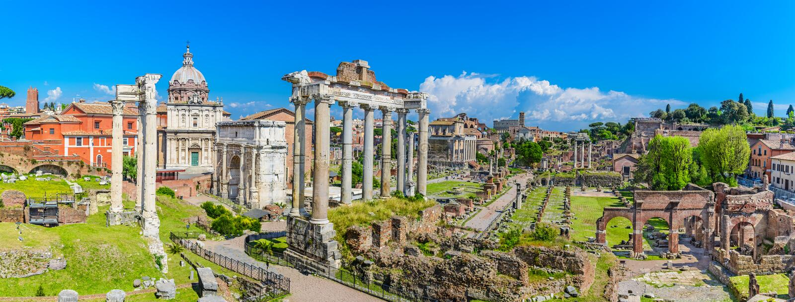 Ancient Forum with temples, pillars, the senate and ancient streets,Rome,Italy royalty free stock photos