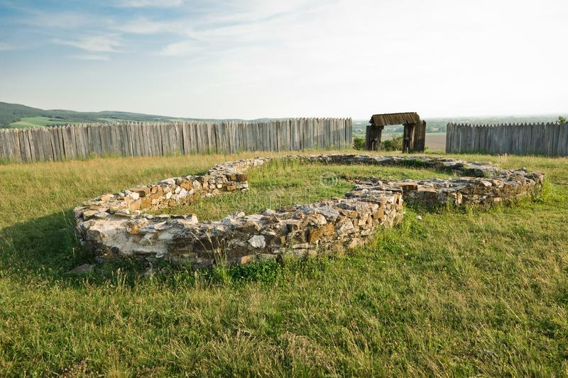 Ancient foundations of the house or church, ruined city stock photo