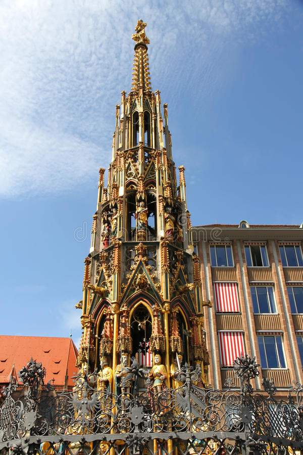 Ancient Fountain in Nuremberg stock photos