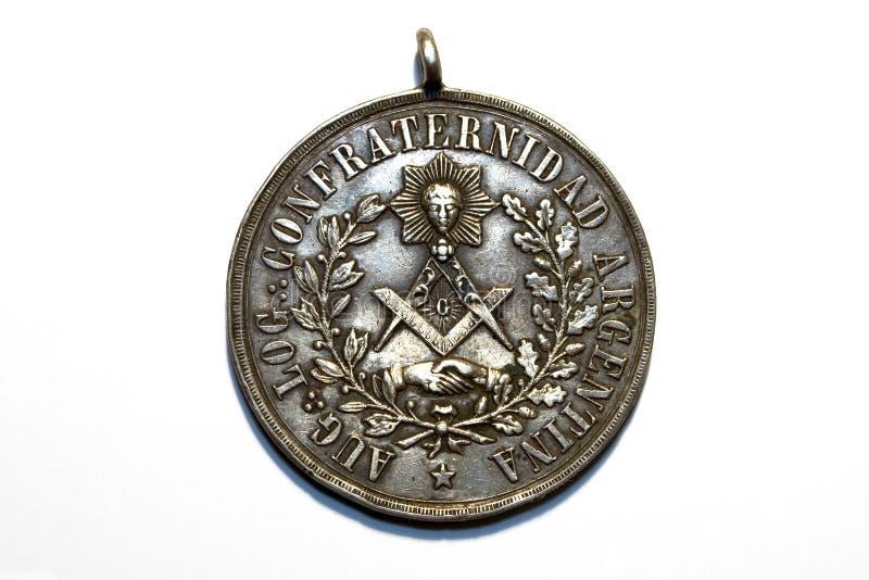 Ancient freemasonry medal royalty free stock photos