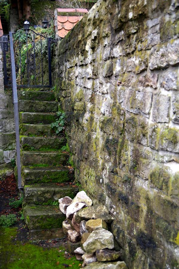 Ancient garden access from stone staircase and natural stone wall with moss and weeds royalty free stock image