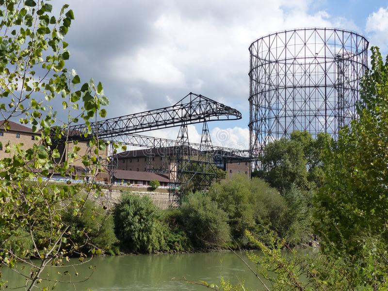 Ancient gasometer of Rome in the district of Ostiense along the river Tiber. Rome. Italy. . stock photo