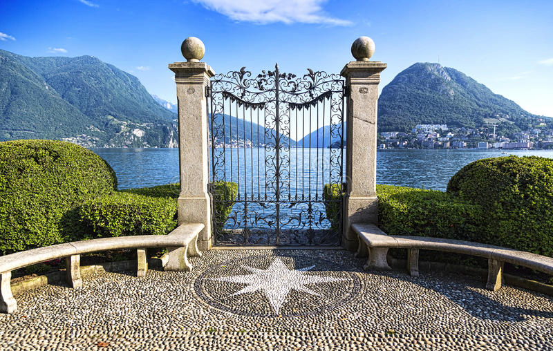 Ancient gate of Ciani Park royalty free stock photos