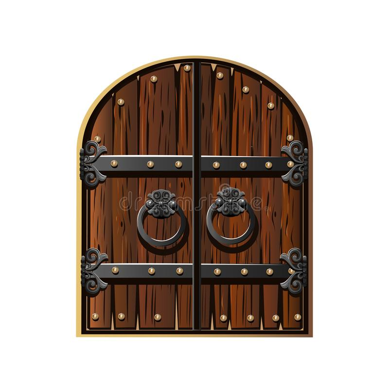 Ancient gate decorated with iron vector illustration