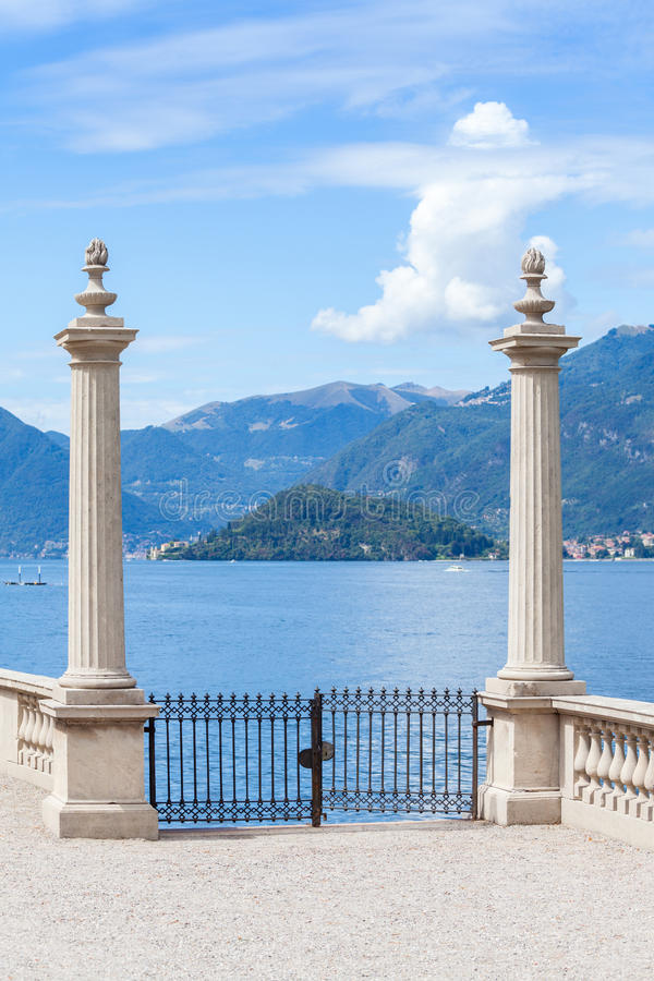 Ancient gate. In in the garden terrace of Villa Melzi royalty free stock photography