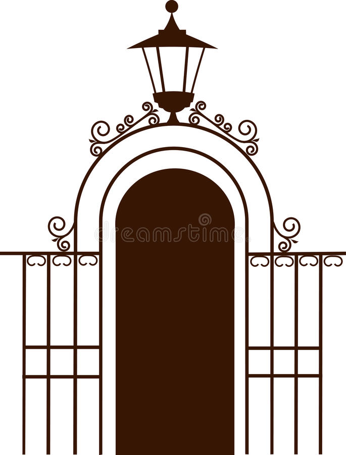 Ancient gate with lamp. On white royalty free illustration