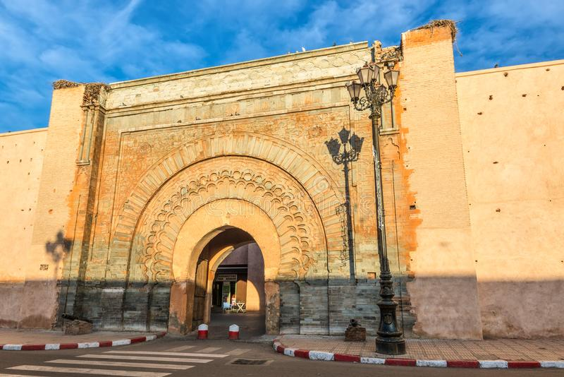 Ancient gate to the old medina district in Marrakech, Morocco royalty free stock images