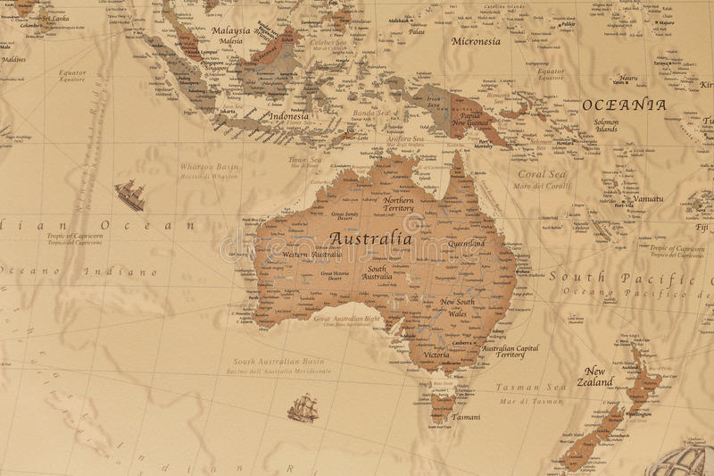 Ancient geographic map of Oceania. With names of the countries royalty free stock images