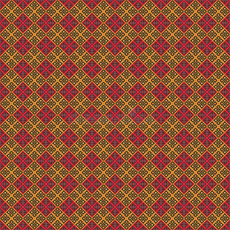 Ancient Geometric pattern in repeat. Fabric print. Seamless background, mosaic ornament, ethnic style. vector illustration
