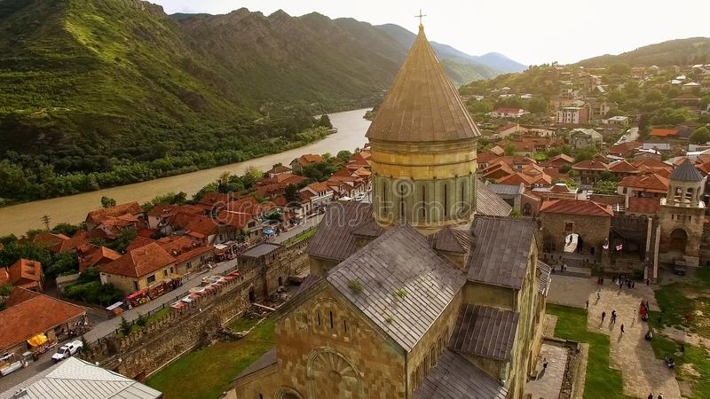 Ancient Georgian architecture in green mountain valley with river Tbilisi nature stock photos