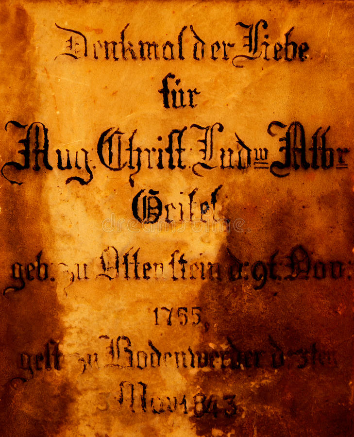 Ancient German-Gothic inscription on the stone. Ancient German Gothic inscription on the stone royalty free stock photos