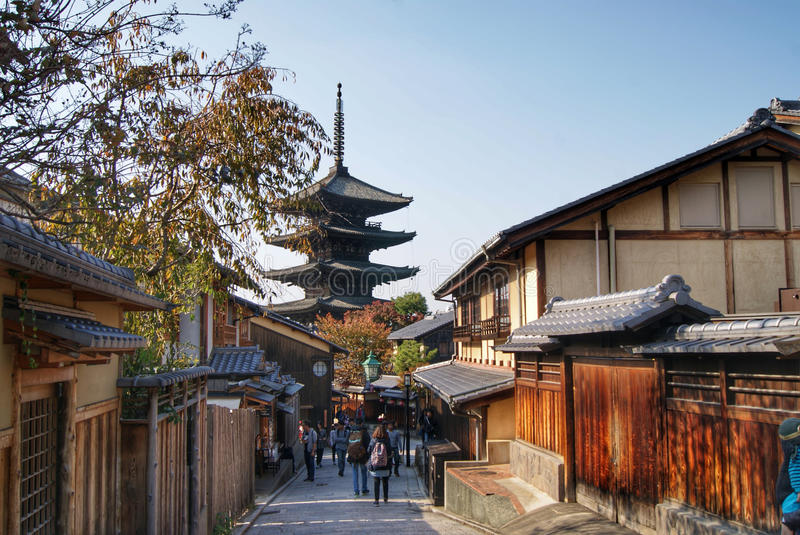 Ancient Gion in Kyoto, Japan. Most traditional ancient part of Kyoto - Gion - famous place, where geisha girls are still living and where people can meet them royalty free stock photo