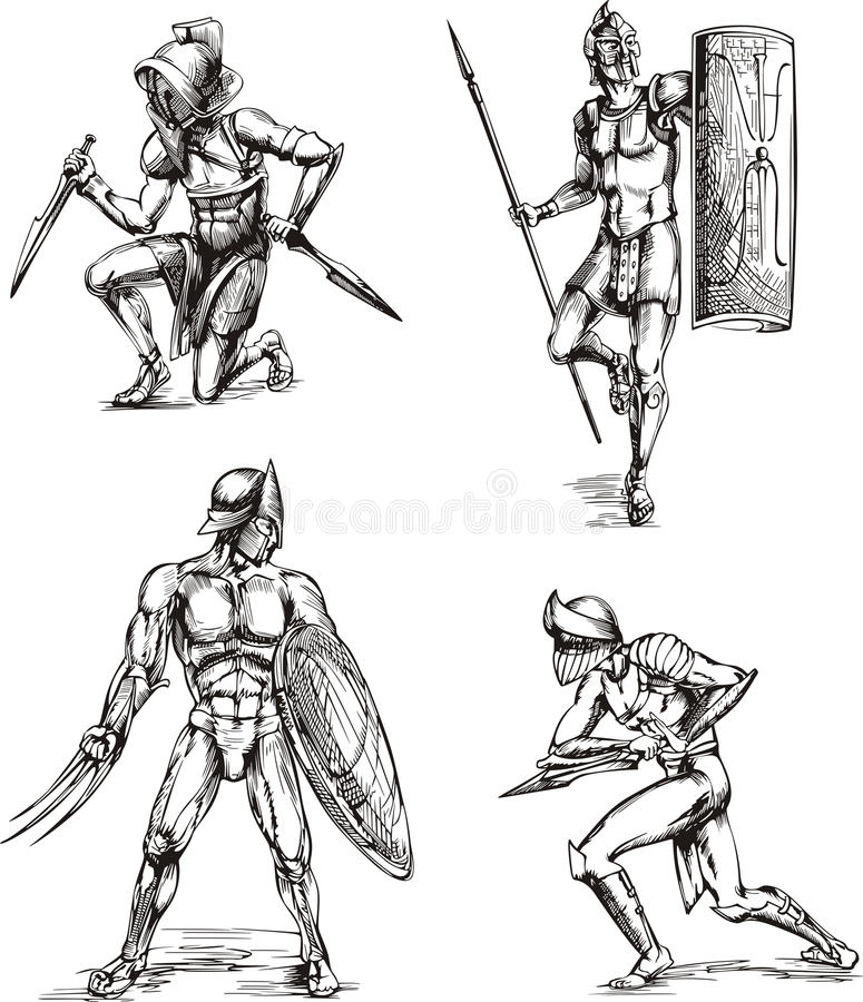 Download Ancient Gladiator Sketches Stock Photography - Image: 24894692