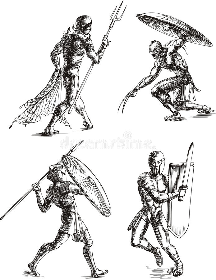 Download Ancient Gladiator Sketches stock vector. Illustration of roman - 24894766
