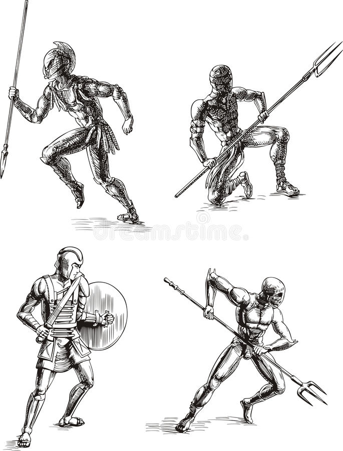 Download Ancient Gladiator Sketches stock vector. Illustration of ancient - 24894800