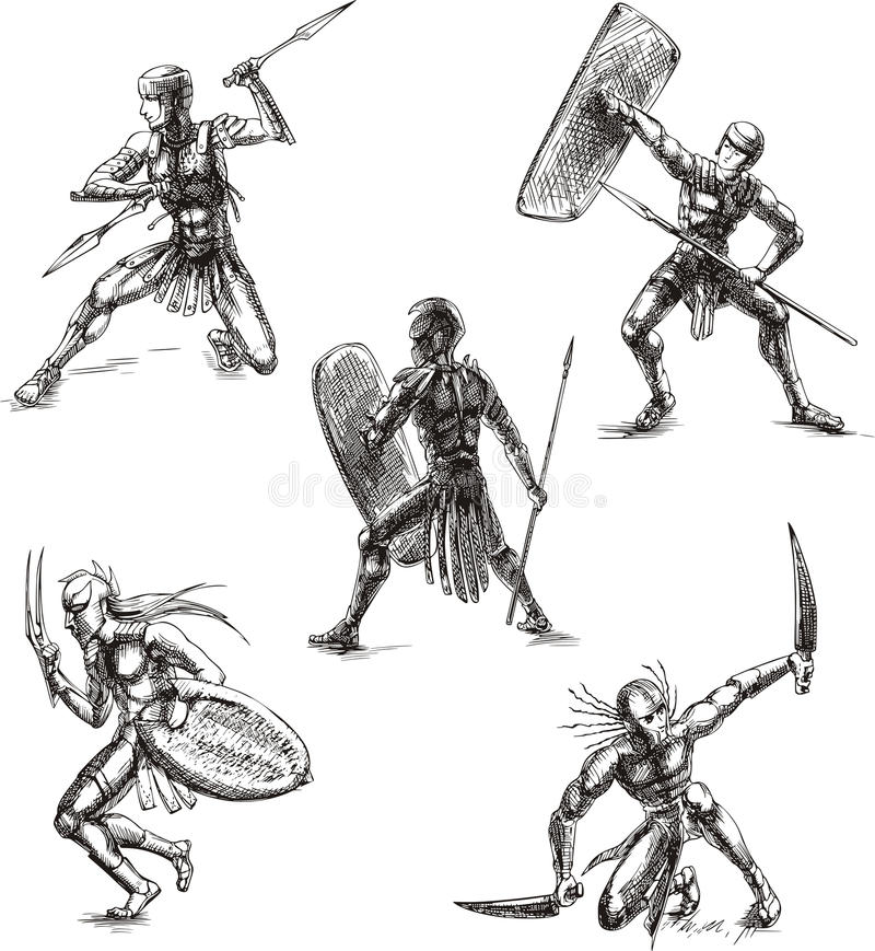Ancient Gladiator Sketches Stock Images