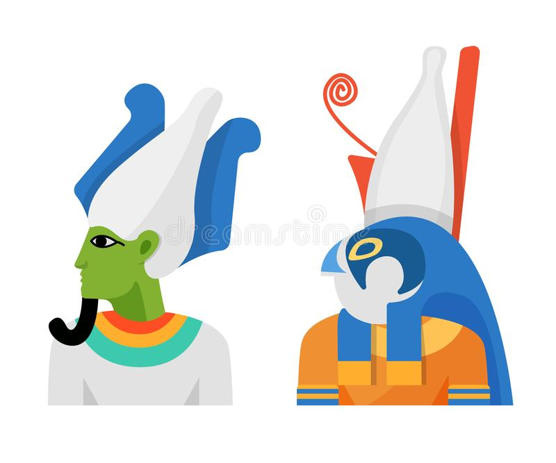 Ancient gods of Egyptian mythology, God Osiris and Deity Horus. Ancient Egyptian gods of mythology, Egyptian God Osiris, lord of forces of nature and afterlife vector illustration