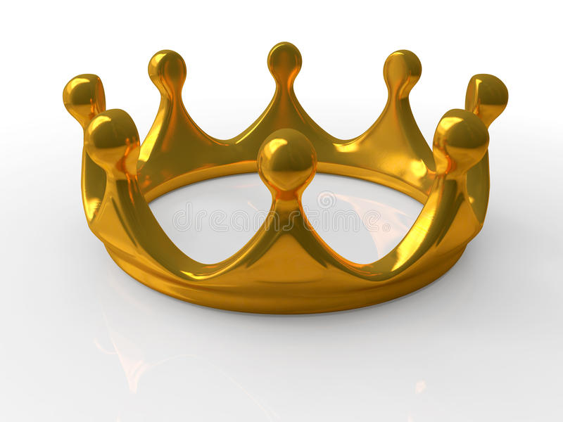 Ancient gold crown. A symbol of royal authority 3d vector illustration