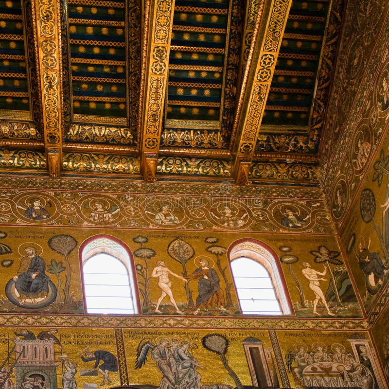 Ancient gold mosaic in Cefalu cathedral royalty free stock images