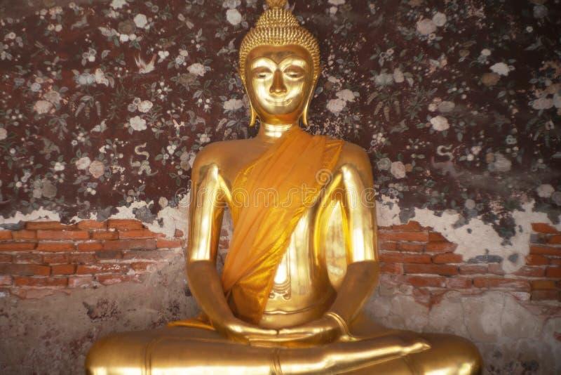 Ancient golden buddha state at Wat Suthat ,Bangkok ,Thailand royalty free stock photo