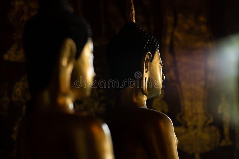 Ancient golden buddha at Wat prasat Temple Chiangmai ,Thailand stock photography