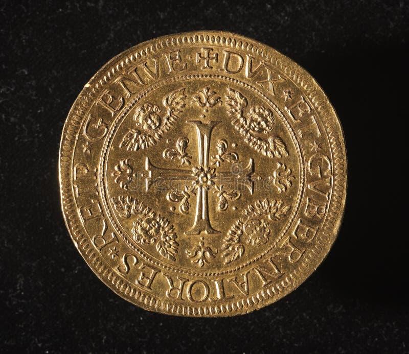 Ancient golden coin of republic of genoa italy. 25 doppie - recto ID001 - ancient golden coin of republic of genoa italy royalty free stock photo