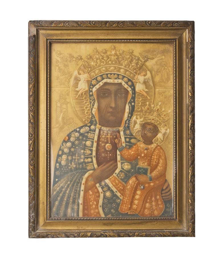 Ancient golden icon of the Mother of God. Religion symbol stock photos