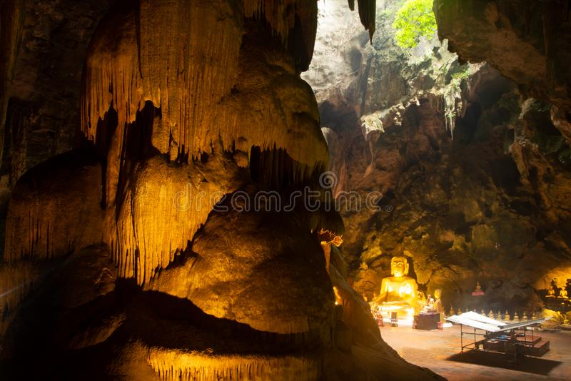 Ancient golden main Buddhas at hall in Khao Luang cave. stock photography