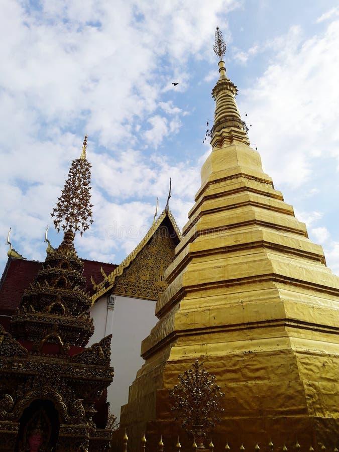 Ancient golden pagoda. In Thailand stock photos