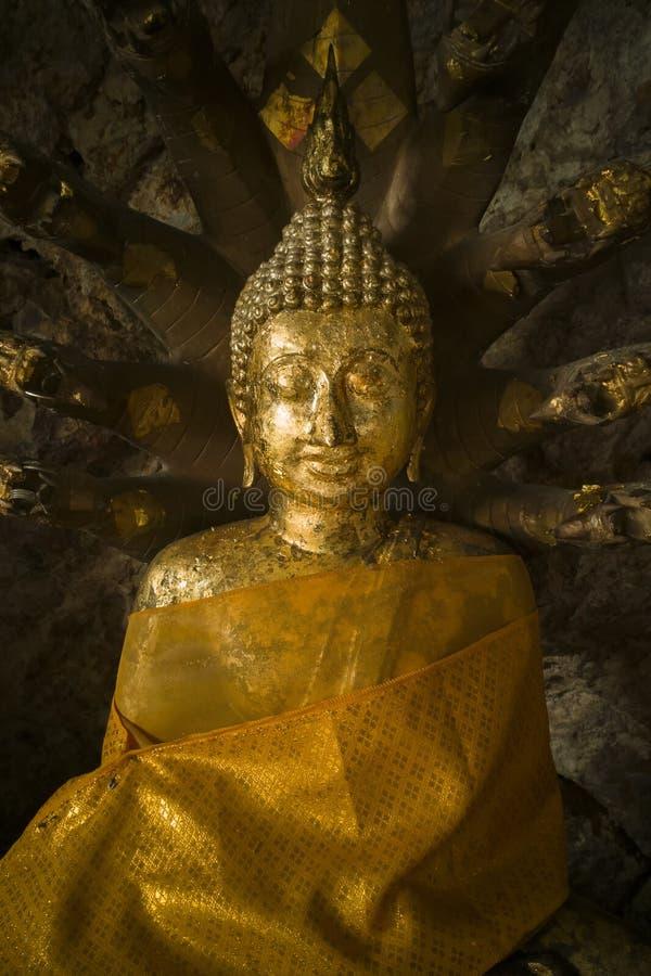 Ancient Golden Seated Buddha ,Buddha Sheltered by Naga Hood royalty free stock images