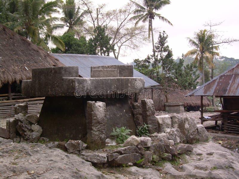 An ancient gravestone of Marapu's ethnic royalty free stock photo