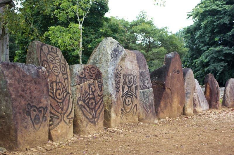 Ancient Graveyard. Aboriginal indigenous ancient graveyard, archetypal drawings on grave stones, puerto rico stock photos