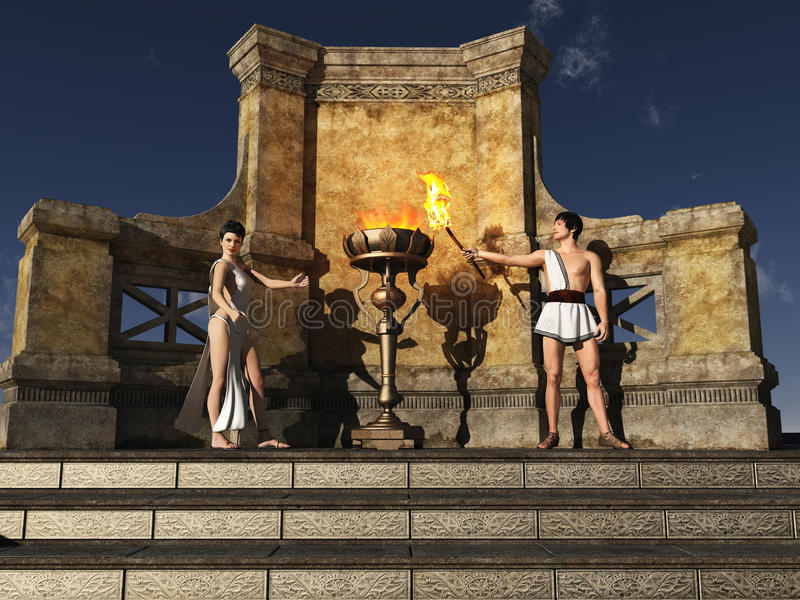 Download Ancient Grecian Flame Lighting Ceremony Stock Illustration - Image: 25769979