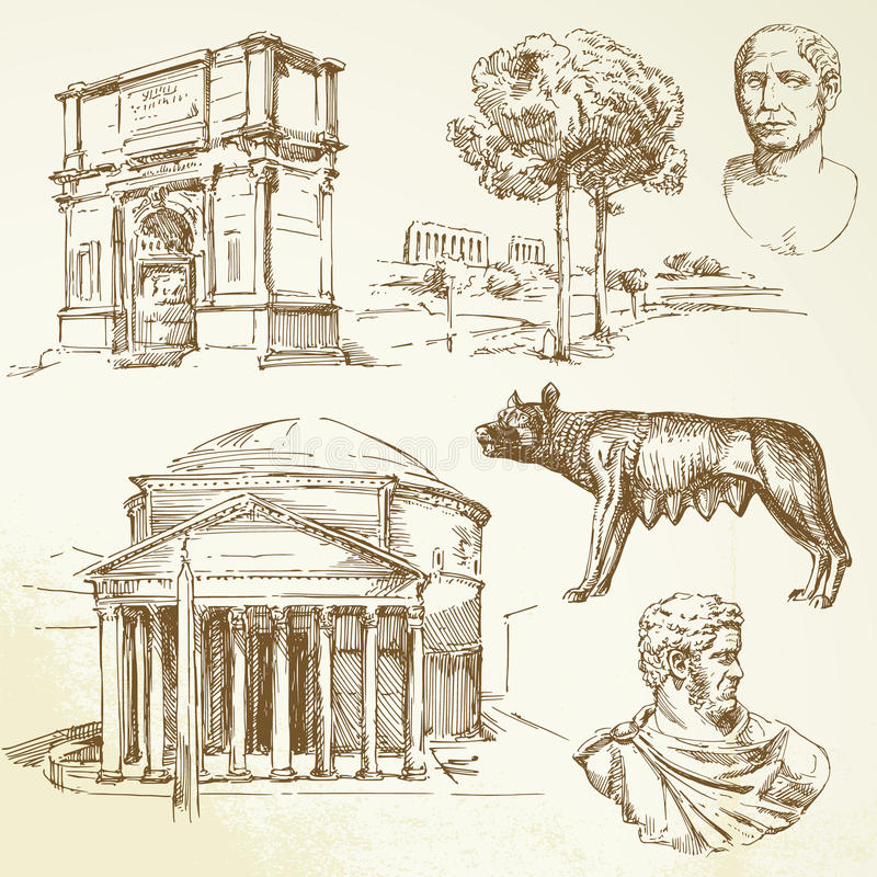 Download Ancient greece stock vector. Image of drawing, tree, temple - 23948320