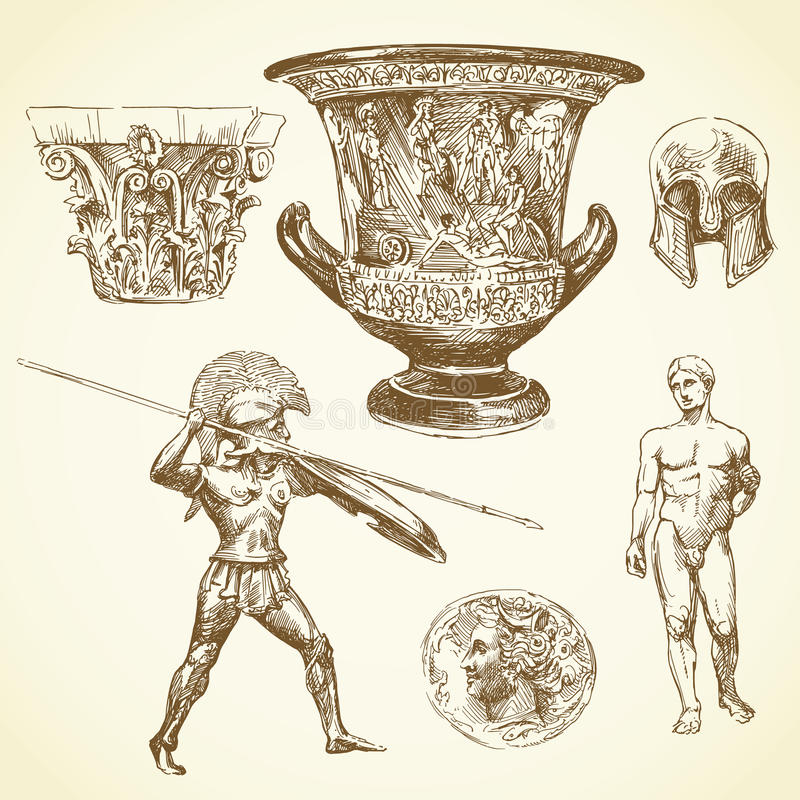 Ancient greece stock illustration