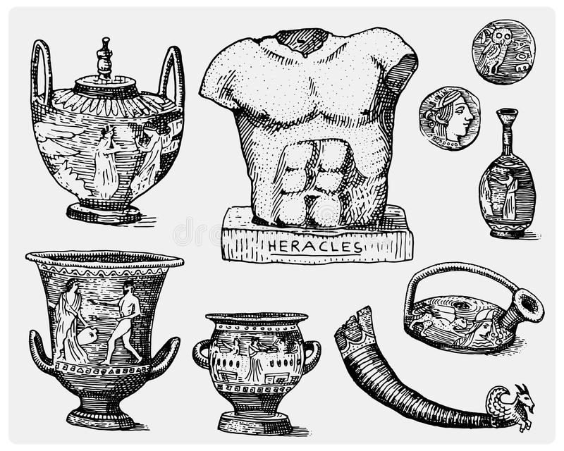 Ancient Greece, antique symbols, greek coins, heracles sculpture, anphora vintage, engraved hand drawn in sketch or wood vector illustration