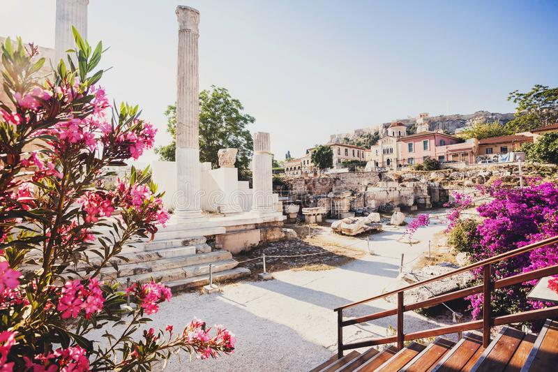 Ancient Greece, detail of ancient street, Plaka district, Athens, Greece royalty free stock photos
