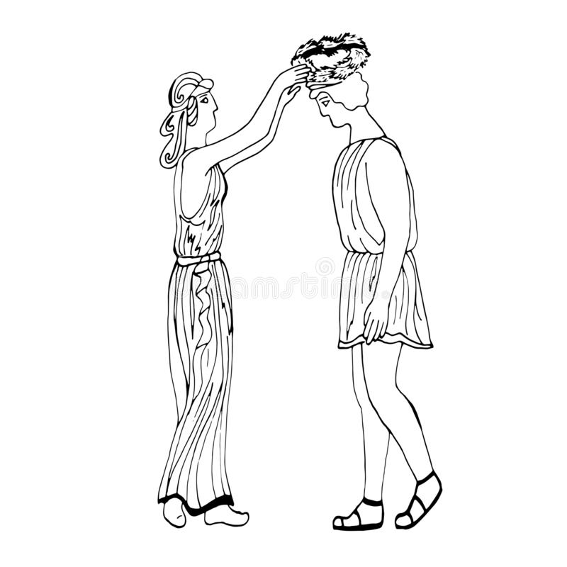 Ancient Greece. The girl puts a laurel wreath on the young man. Hand drawing. Vector. stock illustration