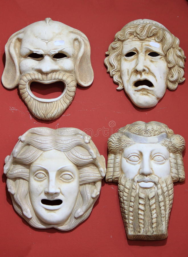 Ancient Greece theatre masks royalty free stock image