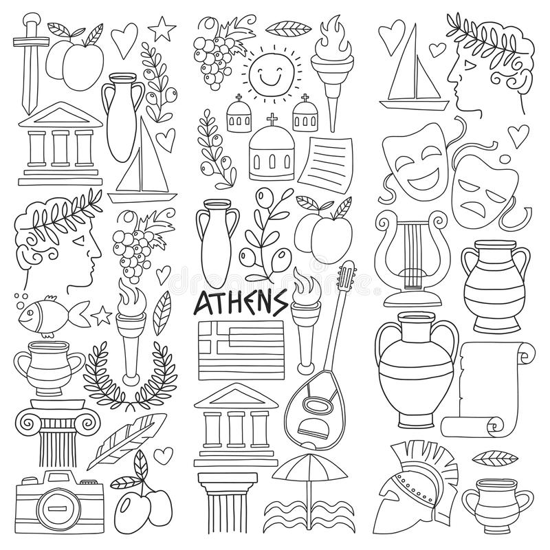 Beautiful Download Ancient Greece Vector Elements In Doodle Style For Coloring Pages  Travel, History, Music