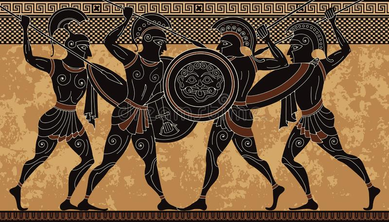 Ancient greece warrior.Black figure pottery.Ancient greek scene stock photography