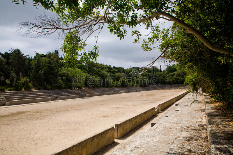 Ancient Greek Acropolis Sports Stadium stock photo
