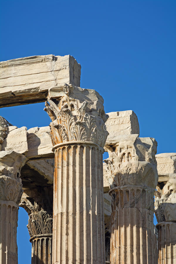 Ancient Greek architecture. Corinthian columns detail at the Temple of Olympian Zeus, Athens - Greece royalty free stock images