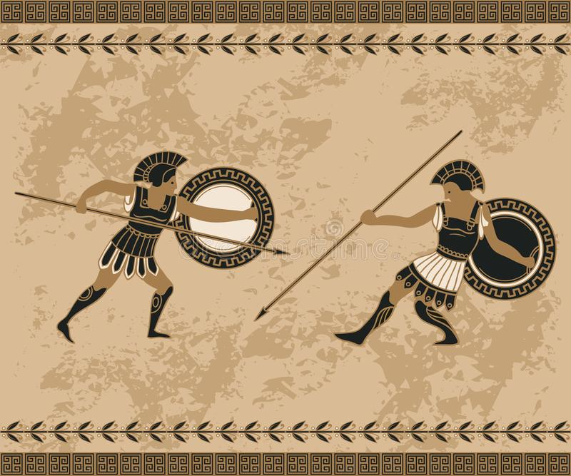 Ancient greek background with fighting people and ornament. Traditional ethnic design. Vintage vector illustration vector illustration