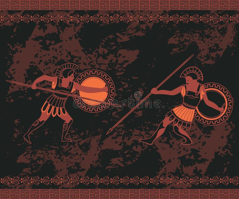 Ancient greek background with fighting people and ornament. Traditional ethnic design. Vintage vector illustration stock illustration