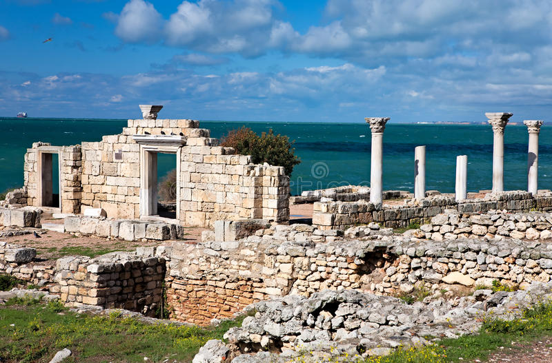 Ancient Greek Basilica in Chersonesus in Crimea royalty free stock photo