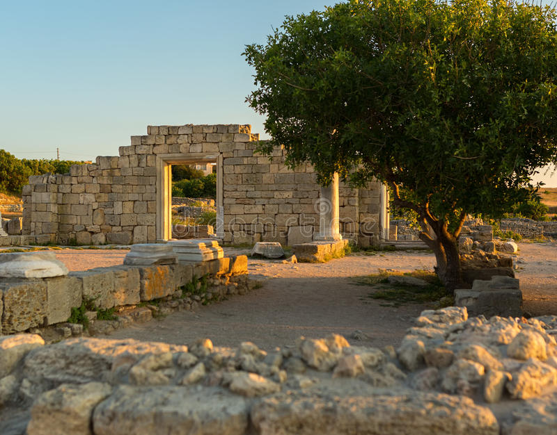 Ancient Greek basilica in Chersonesus Taurica. royalty free stock photos