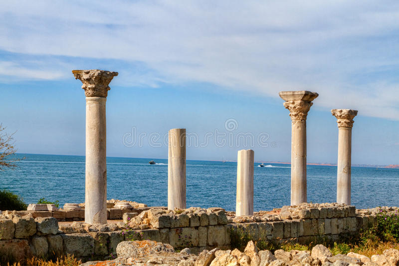 Ancient Greek basilica and marble columns stock images