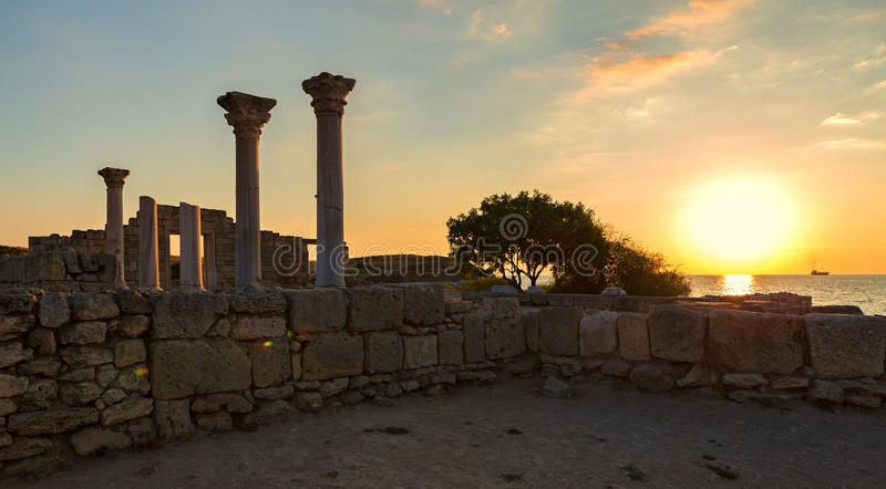 Ancient Greek basilica and marble columns in Chersonesus Taurica stock photography